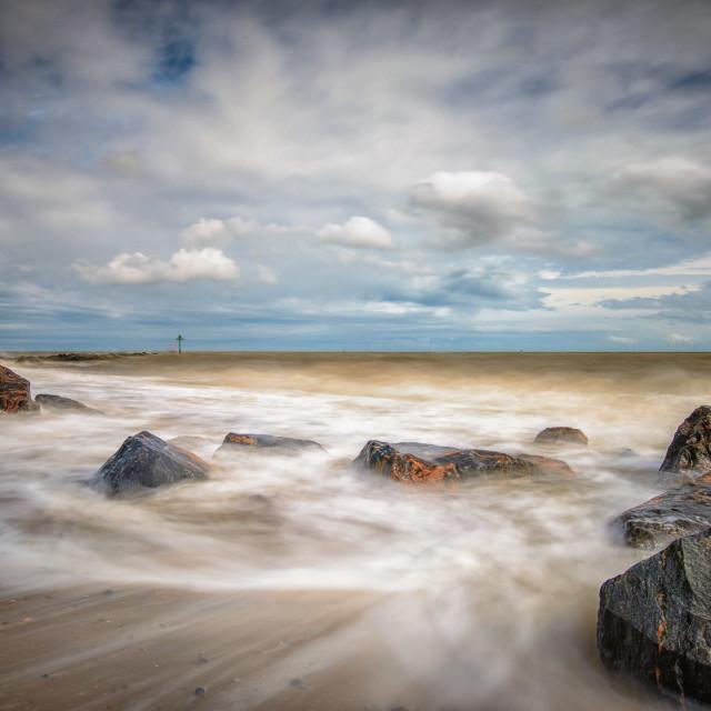 """Rough Sea Sunny Day 1"" stock image"