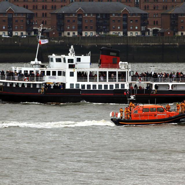 """Royal Iris Mersey Ferry & Hoylake Lifeboat"" stock image"