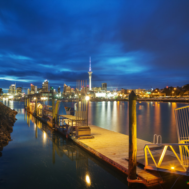 """""""City lights from Westhaven Marina"""" stock image"""