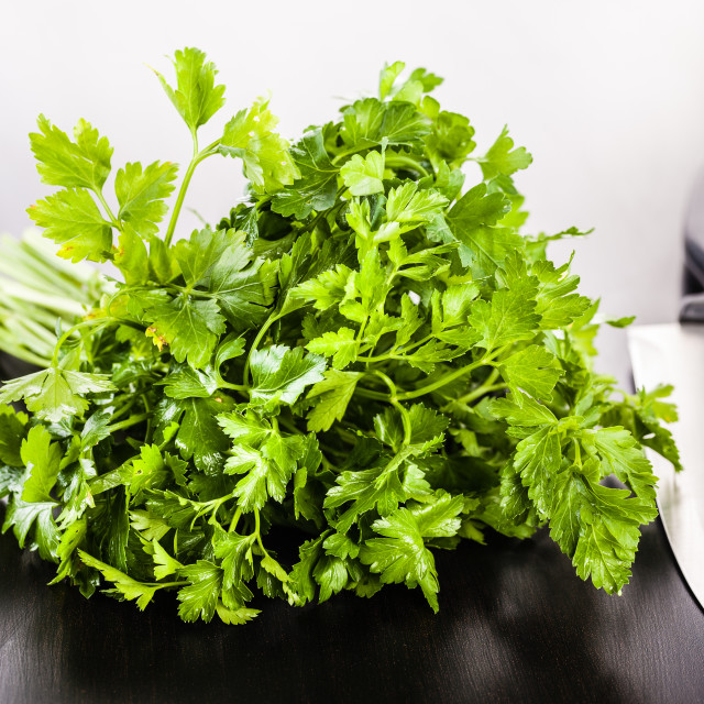"""""""bunch of parsley and knife"""" stock image"""