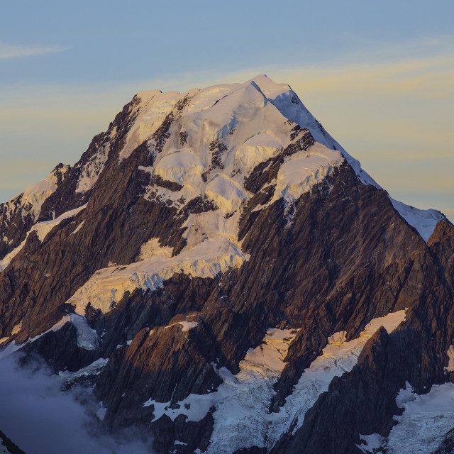 """Mt Cook at sunset"" stock image"