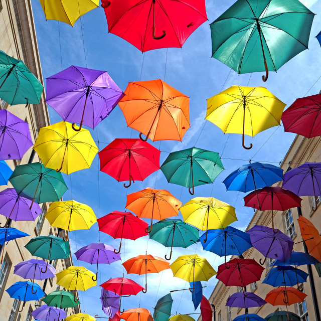 """Coloured Umbrellas"" stock image"