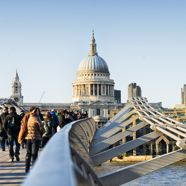 """On the Millennium Bridge"" stock image"