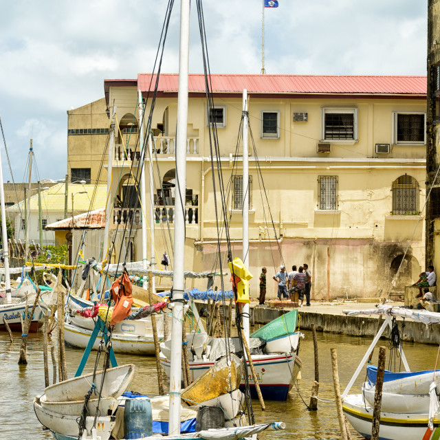 """""""At the harbour in Belize City"""" stock image"""