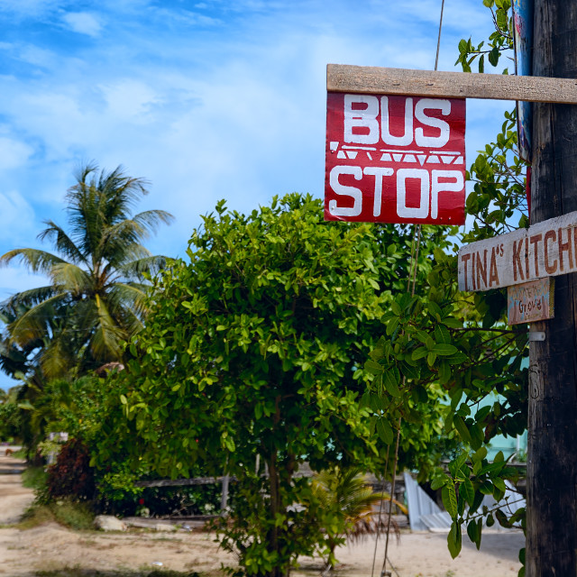 """Bus stop in Hopkins Village"" stock image"