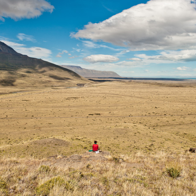 """Enjoying the view, El Chalten, Patagonia, South America"" stock image"