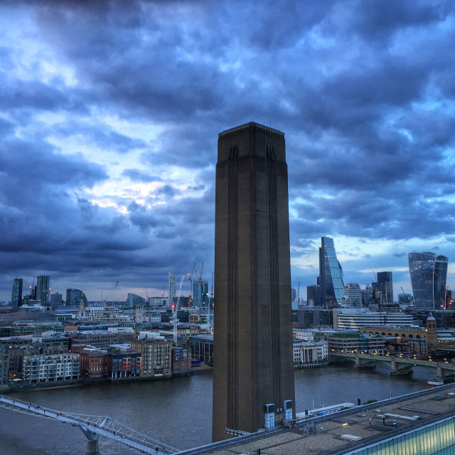 """Tate Modern chimney and London biew"" stock image"
