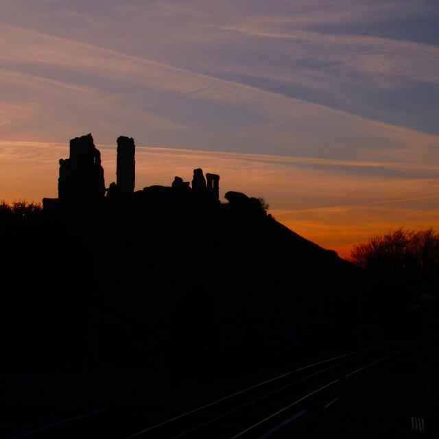 """Sunset over Corfe Castle"" stock image"