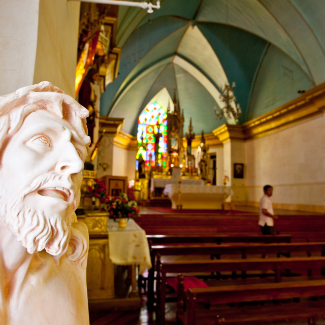 """""""Jesus Christ bust in a church, Pisco Elqui,"""" stock image"""
