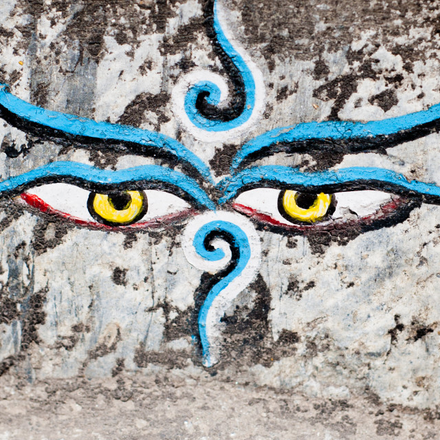 """Eyes painted on a wall, Kathmandu, Nepal"" stock image"