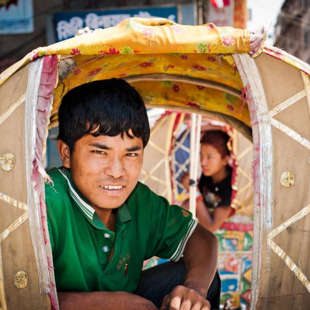 """Tuk Tuk driver, Kathmandhu, Nepal"" stock image"