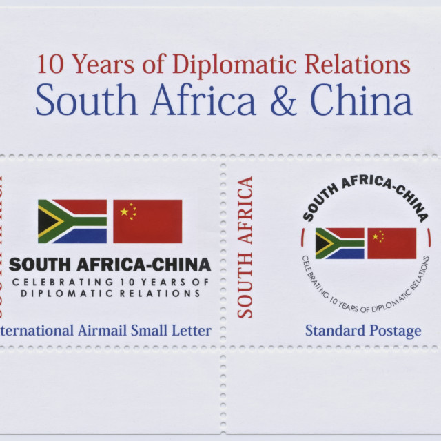 """South Africa and China Stamps"" stock image"