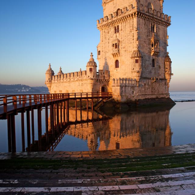 """Sunrise at Belem Tower in Lisbon"" stock image"