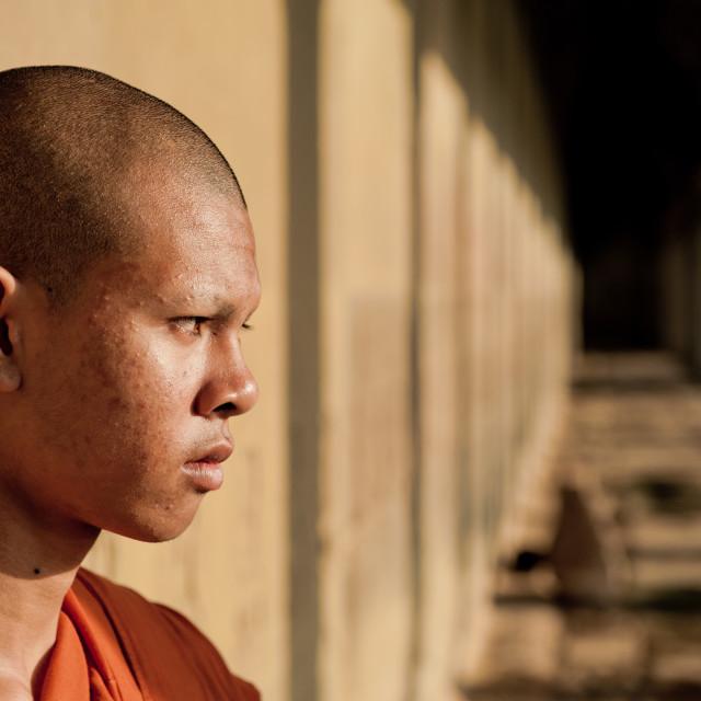 """Buddhist Monk, Angkor Wat, Cambodia"" stock image"