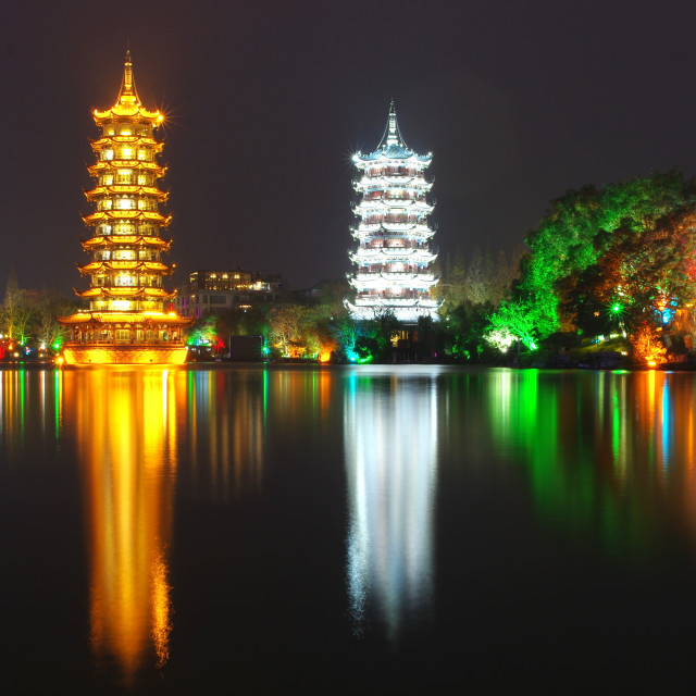 """Guilin Pagodas"" stock image"