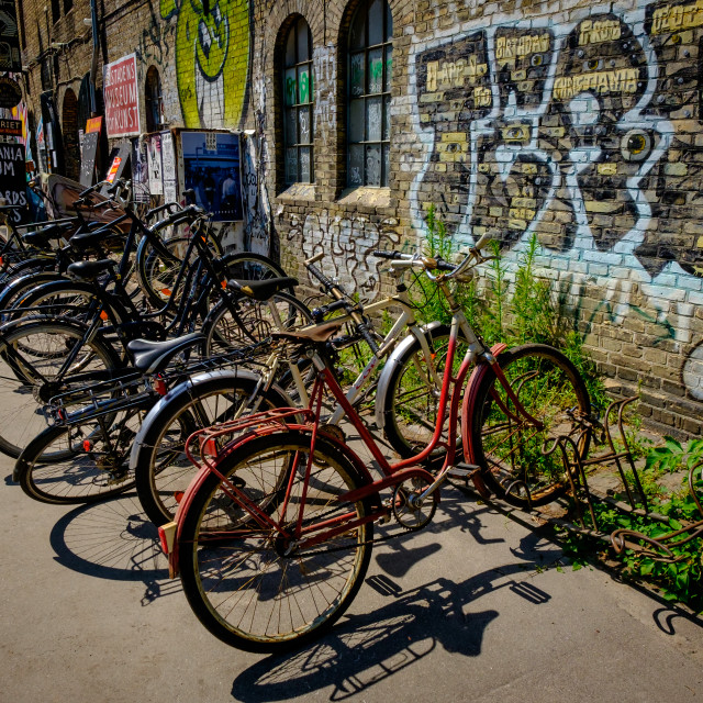 """Bicycles at Christiania, Copenhagen"" stock image"