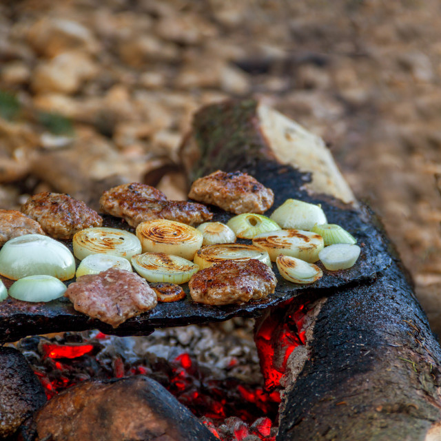 """meatballs baked in the embers"" stock image"