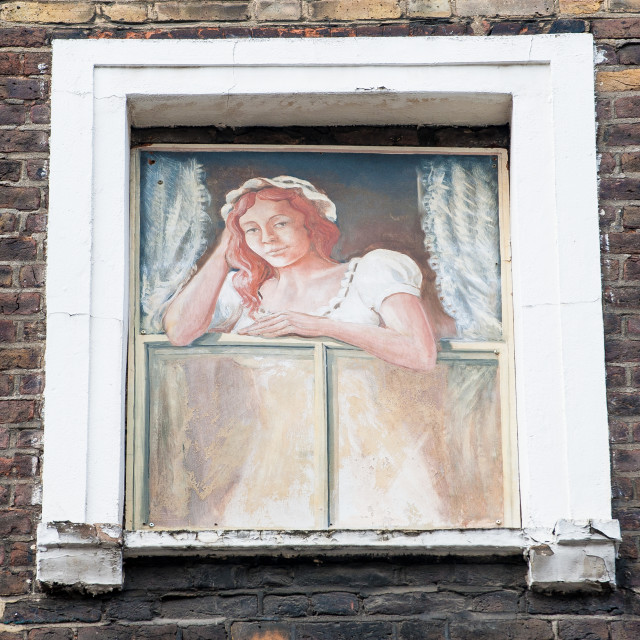 """Women at the window, London"" stock image"
