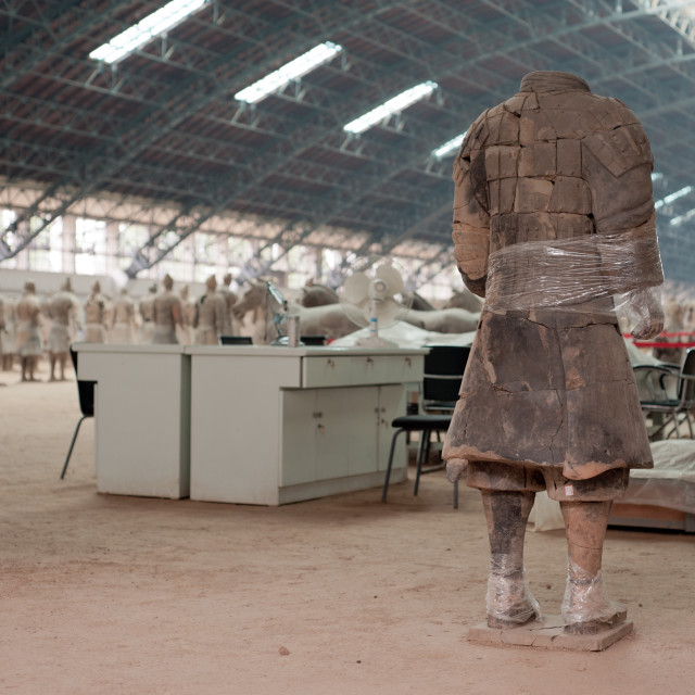 """Terracota Warrior maintenance, China"" stock image"