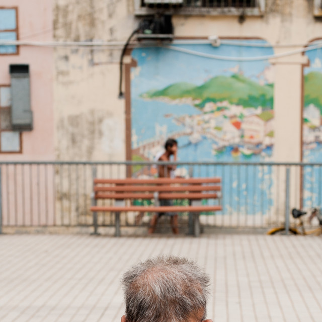 """Back of a mans head, Hong Kong"" stock image"