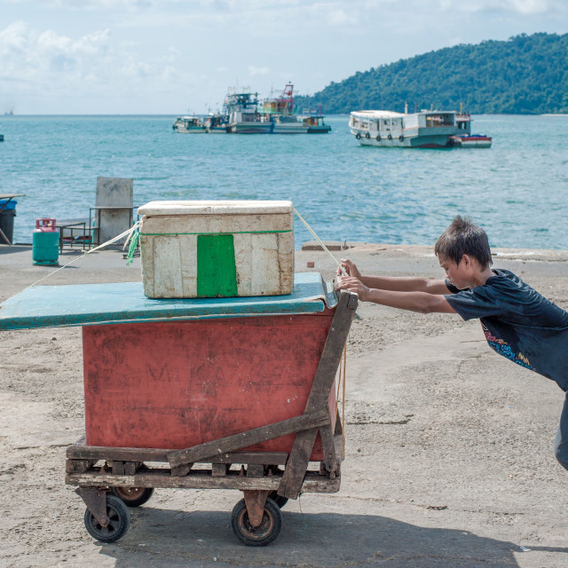 """Working at the harbour, Kota Kinabalu, Borneo"" stock image"