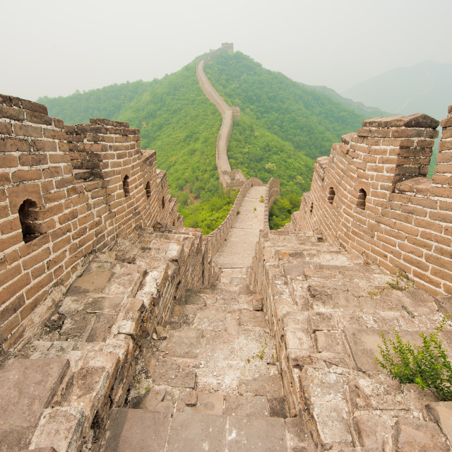 """Great Wall of China on a misty day"" stock image"