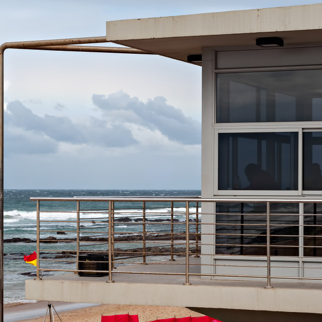 """Lifesaver's station at the main swimming beach in Umhlanga Rocks"" stock image"