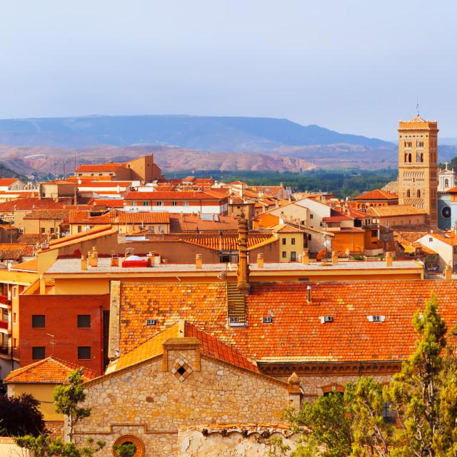 """""""Panoramic view of Teruel with main landmarks"""" stock image"""
