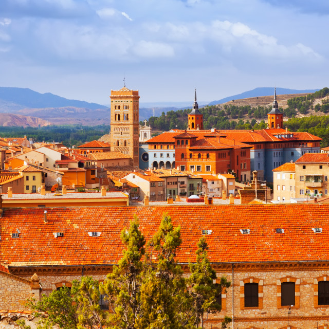 """""""day view of Teruel with landmarks"""" stock image"""