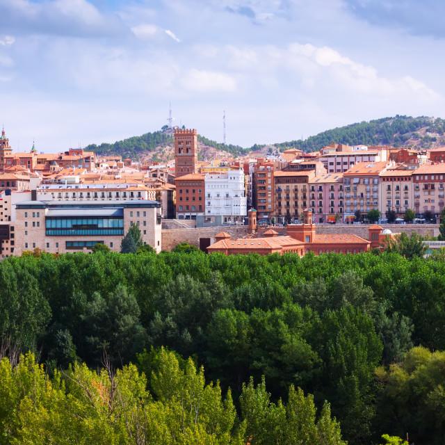 """view of Teruel with mudejar tower"" stock image"