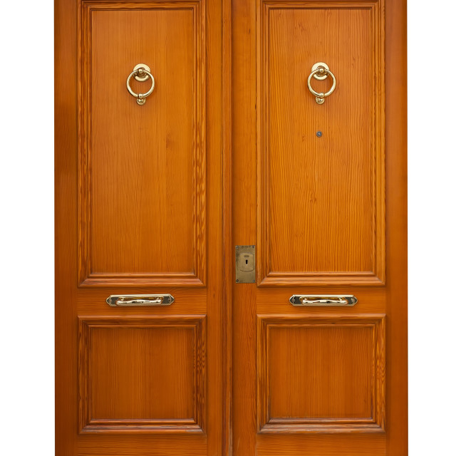 """wooden double doors. Isolated over white"" stock image"