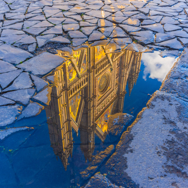 """Orvieto church reflection"" stock image"