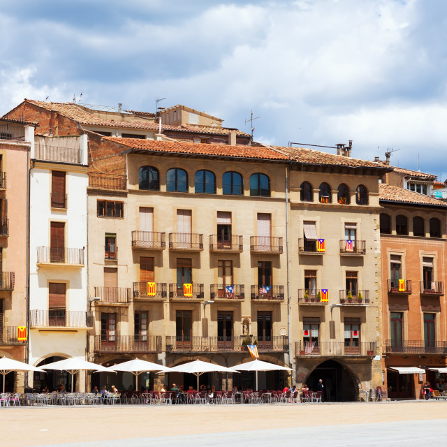 """""""View of Plaza Mayor in Vic"""" stock image"""