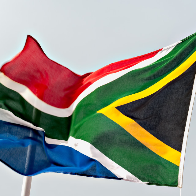 """South African Flag Fluttering in the Wind"" stock image"