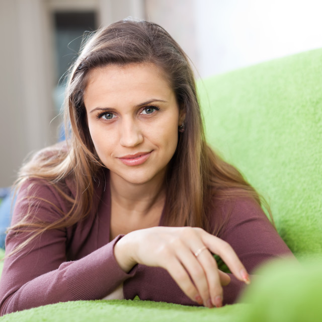 """""""beauty calm girl in home"""" stock image"""