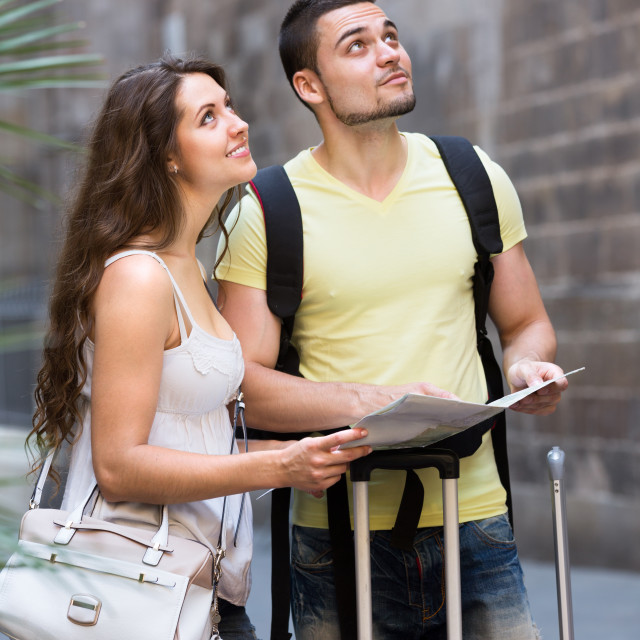 """couple walking in city"" stock image"