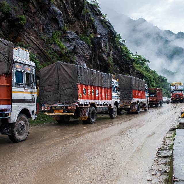 """Truck jam in the Himalayas"" stock image"