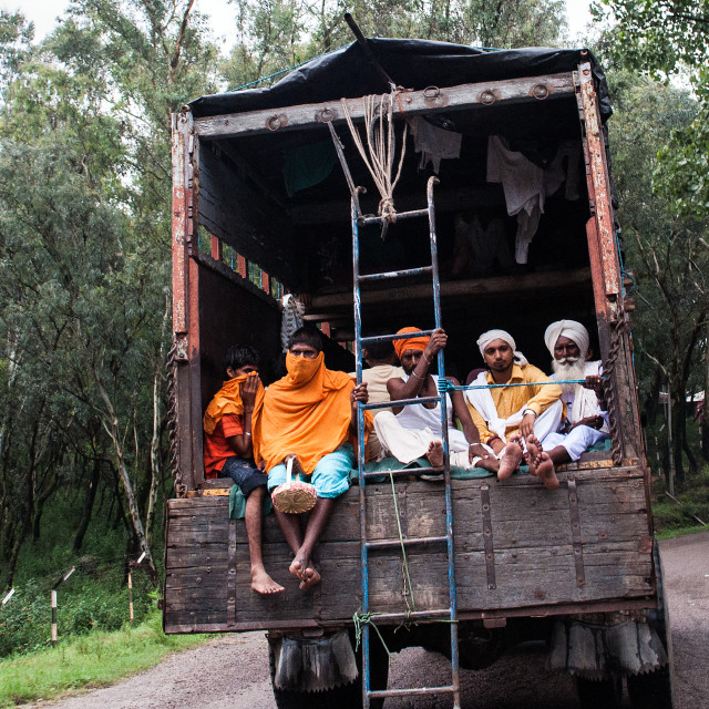 """Indian truck travelers"" stock image"