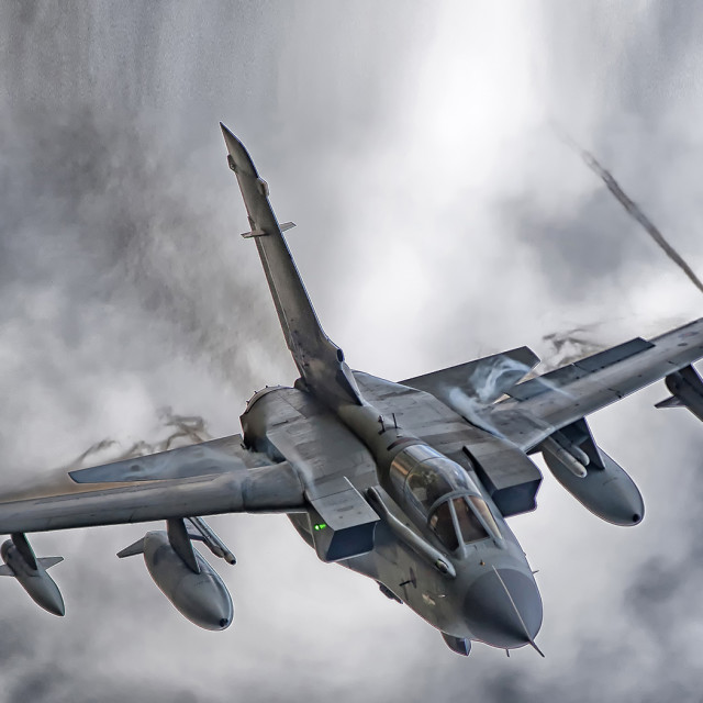 """""""The Tornado GR4 is a variable geometry, two-seat, day or night, all-weather attack aircraft, capable of delivering a wide variety of weapons."""" stock image"""
