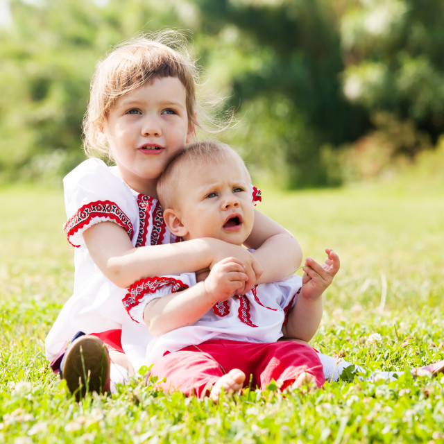 """""""children in russian folk clothes on meadow"""" stock image"""
