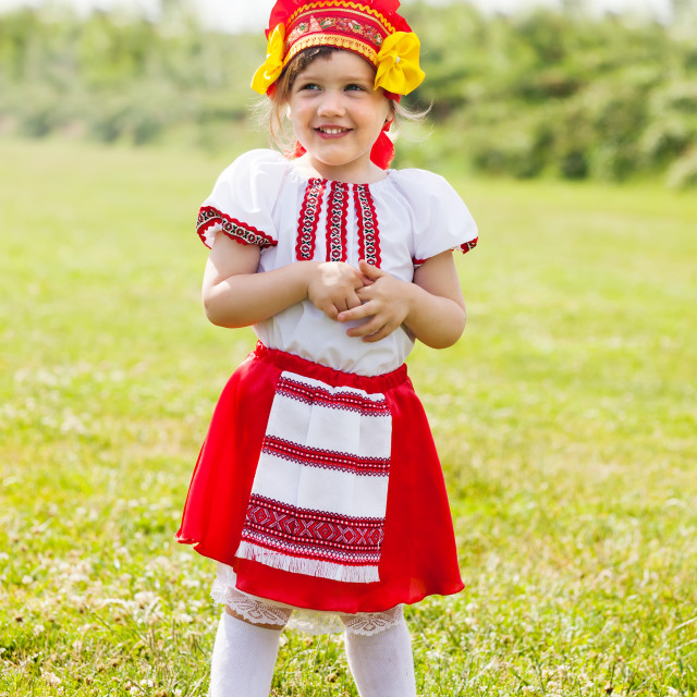 """""""child in russian folk clothes"""" stock image"""