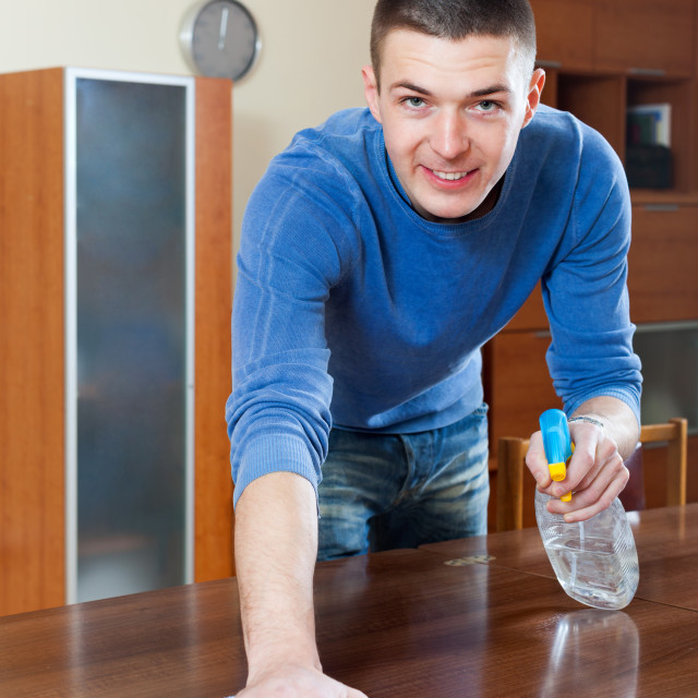 """Smiling man cleaning furniture with rag"" stock image"