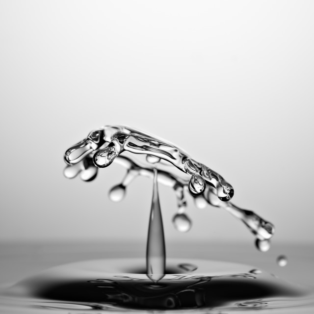 """Water Drop Collision Macro, Black and White"" stock image"