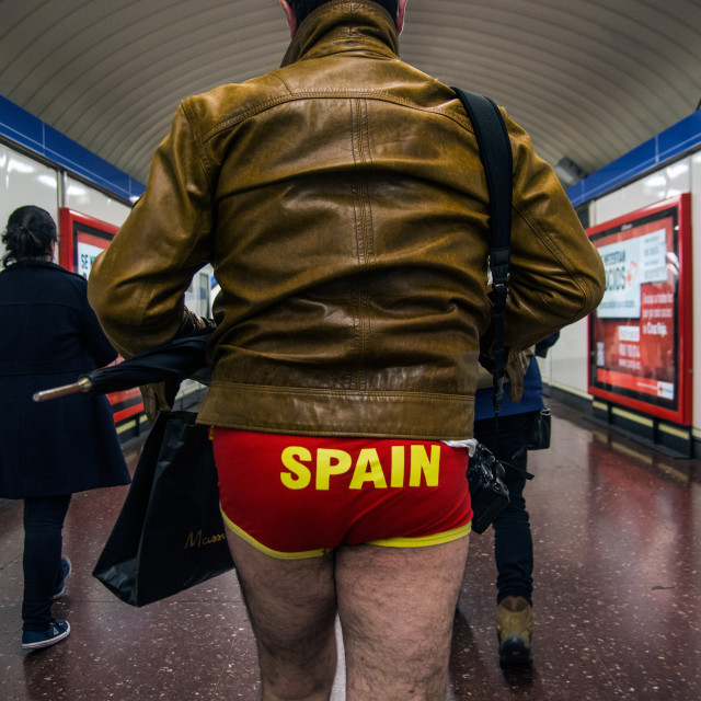 """No Pants Subway Ride in Madrid"" stock image"