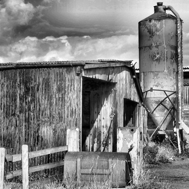 """Derelict Farm Buildings - Black and White"" stock image"
