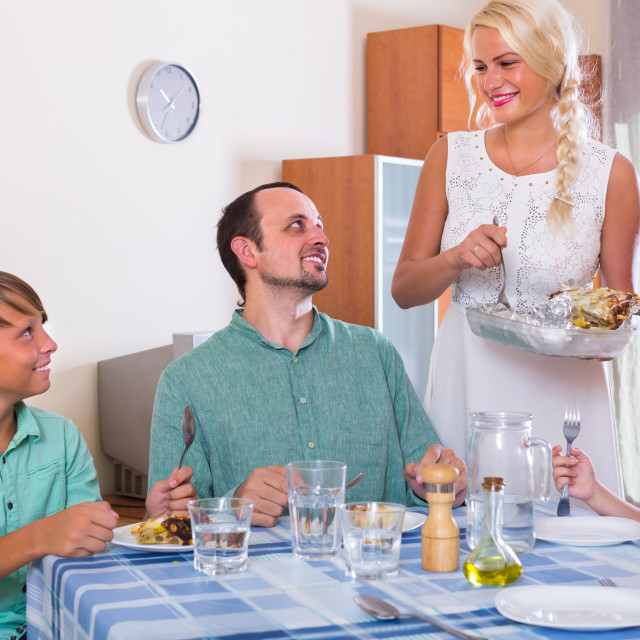 """""""Family dinner at home."""" stock image"""