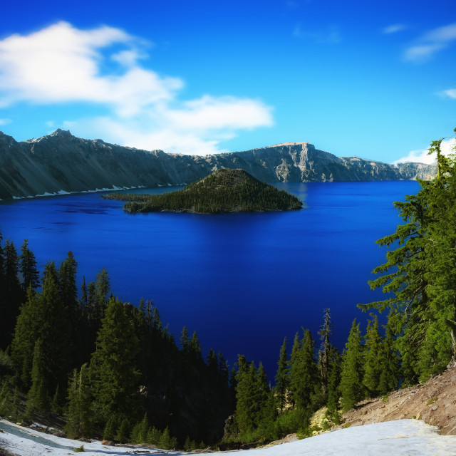 """""""Crater Lake, Oregon on a Sunny Day"""" stock image"""