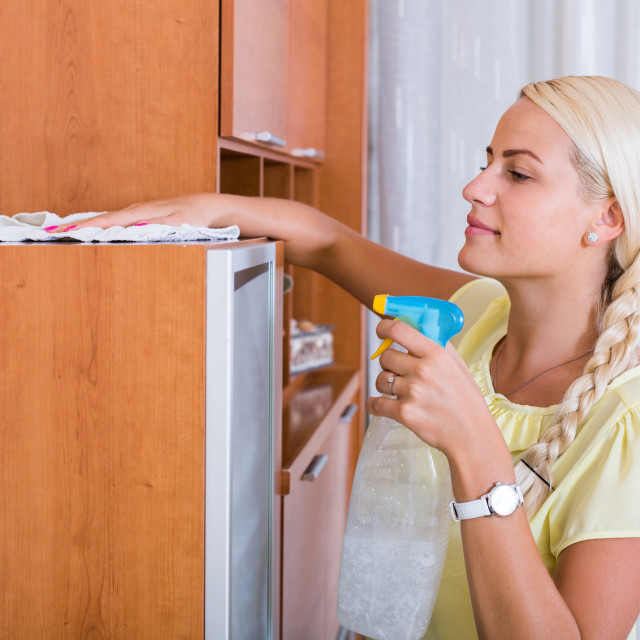 """""""blonde girl dusting in room and smiling"""" stock image"""