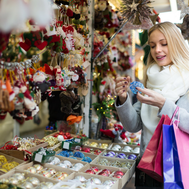 """""""female near counter with xmas gifts"""" stock image"""