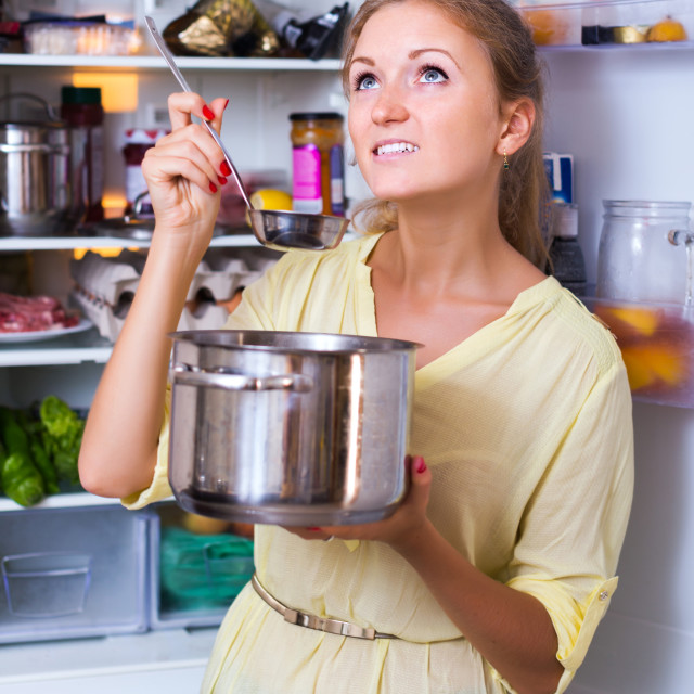 """""""Woman posing with soup"""" stock image"""